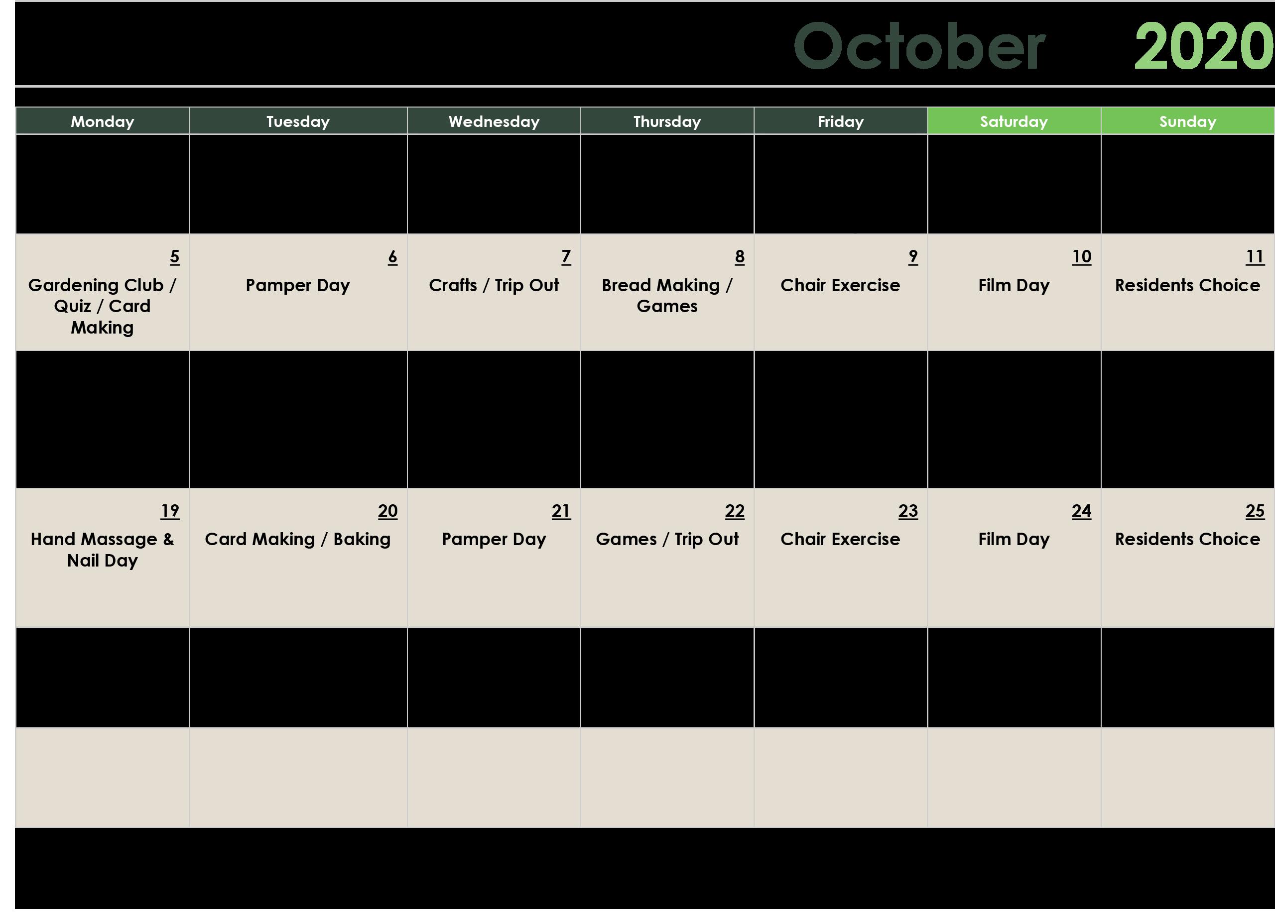 October Care Home Activities