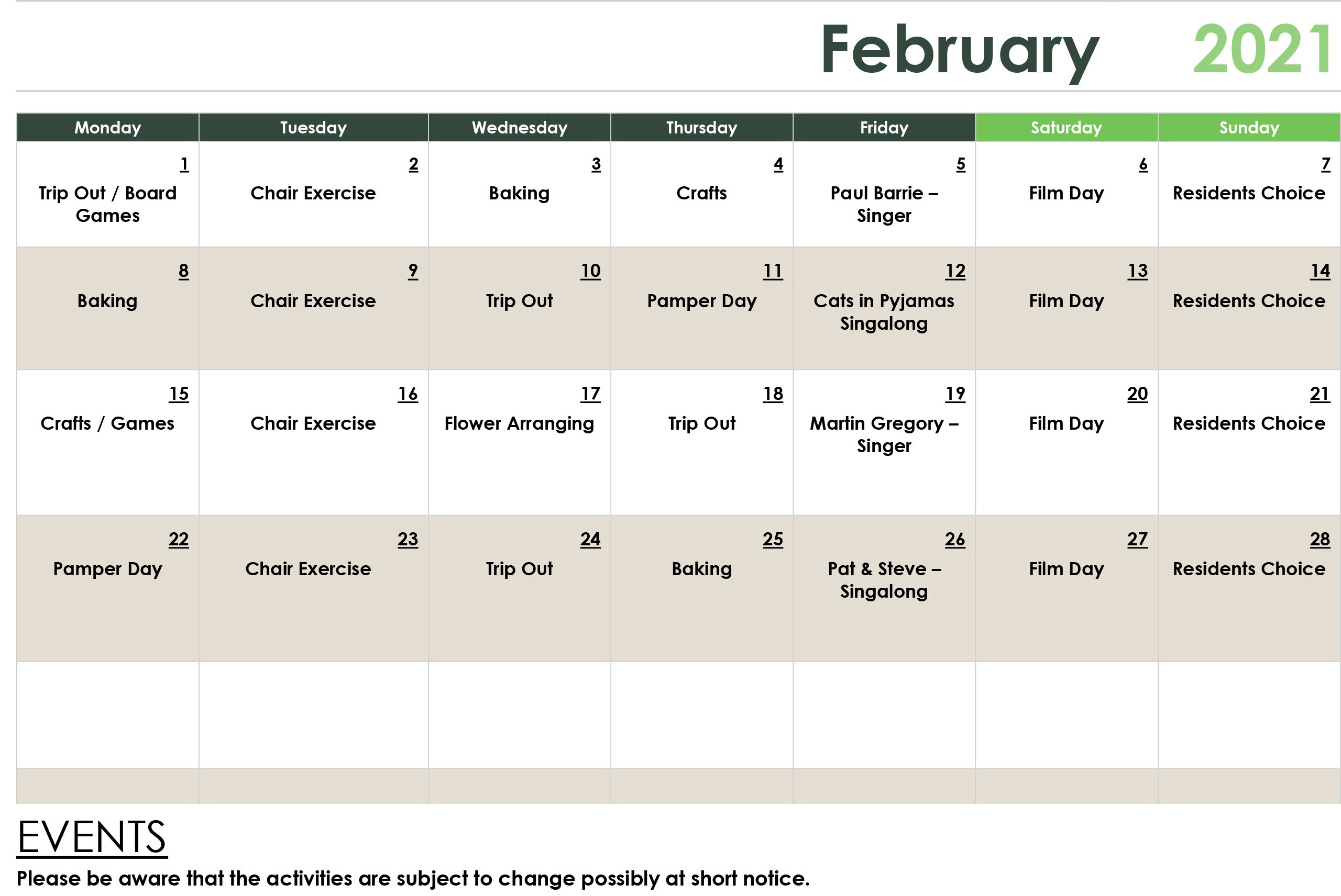 February Activity Calendar 2021